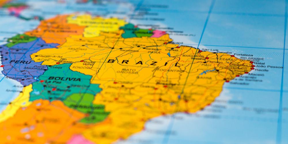 Brazil map - shallow focus