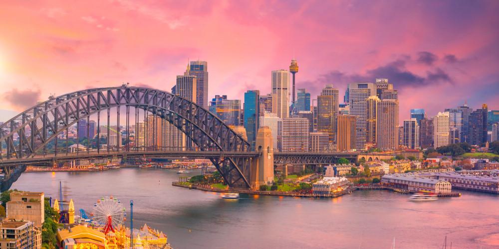Downtown Sydney skyline in Australia at dusk